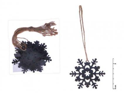 Vločka závěs kov černý mat 6cm