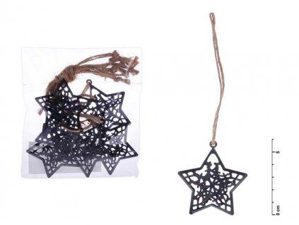 Hvězda závěs kov černý mat 6cm