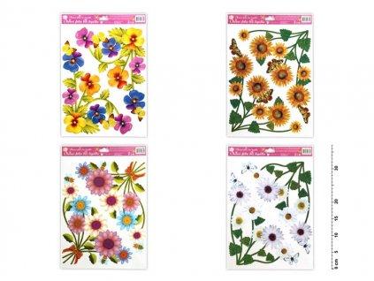 Okenní fólie 869 rohová květinová  s kopretinou 37x26cm