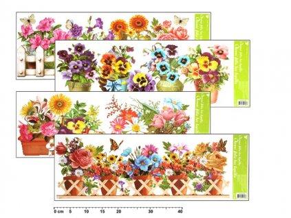 Okenní fólie 877 pruh truhlíkové květiny 60x22,5cm