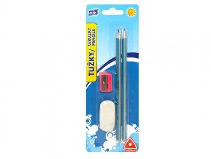 Tužka M set 2 triangular 2xč.2+guma+ořezávátko