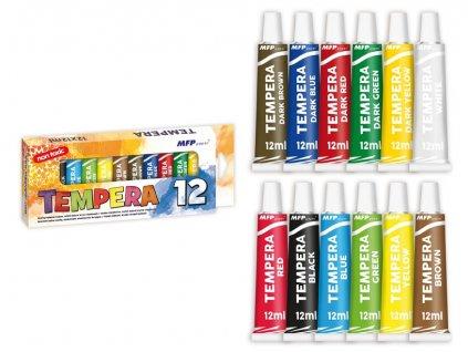 Barvy temperové 12ks 12ml