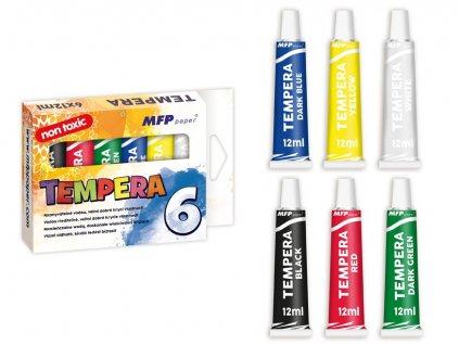 Barvy temperové 6ks 12ml