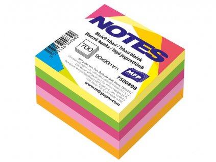 Bloček trhací 90x90mm 700 listů mix 5 barev neon