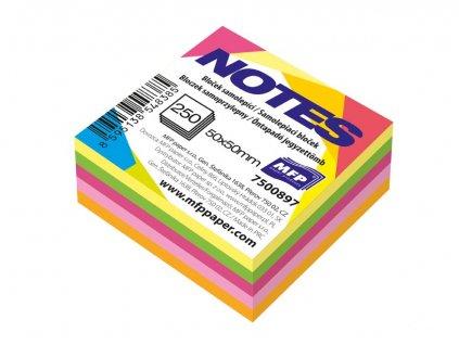 Bloček samolepící 50x50mm 250 listů mix 5 barev neon