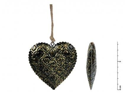 Srdce závěs plech černý 8,5cm