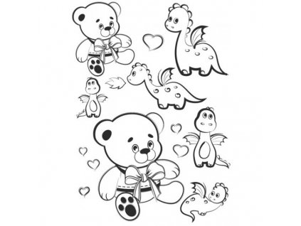 nazehlovaci obrazek cerny medvide a dinosaurus