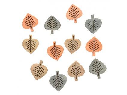4004 mix barev listy male dekorace drevena