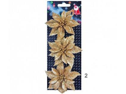 Růže vánoční glitrová zlatá 3ks