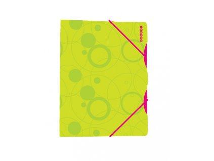 Složka A4 s gumou zeleno-růžová
