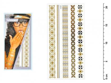 Tetovací obtisky 1118 zlaté a stříbrné 21x10,5 cm-řetízky