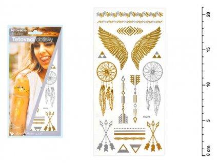 Tetovací obtisky 1120 zlaté a stříbrné 21x10,5 cm-křídla