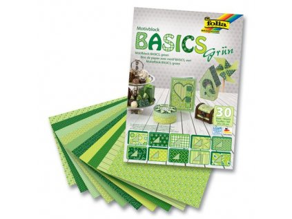 papir na kreativu basics 24x34cm 30ks zelene motivy