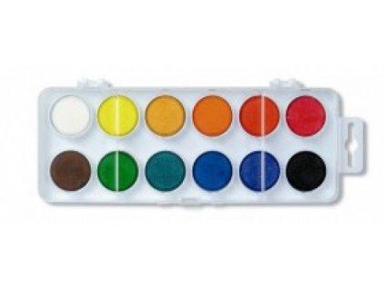 Barvy vodové velké 12 barev x 30 mm bílé