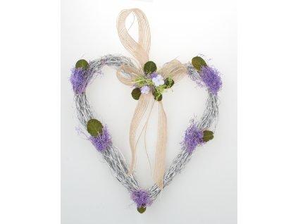 Srdce proutěné s levandulí 21 cm, k zavěšení