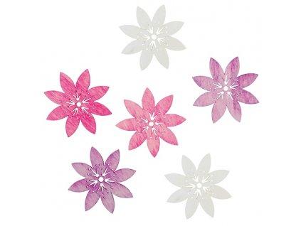Dekorace dřevěné květy 6cm 6ks