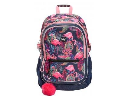 BAAGL Školní batoh Flamingo