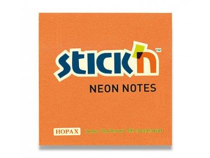 Bloček samolepící Stick in oranžový neon 76 x 76 mm 100 listů