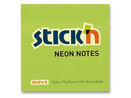 Bloček samolepící Stick in zelený 76 x 76 mm 100 listů