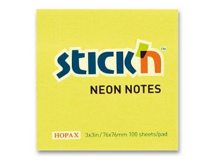 Bloček samolepící Stick in žlutý neon 76 x 76 mm 100 listů