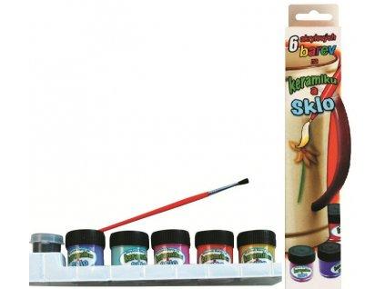 Barvy na keramiku a sklo v krabičce sada 5 odstínů 12ml + kontura 5ml + štěteček