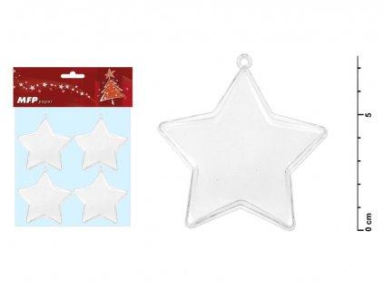 Hvězda transparentní set 7,5x3,7cm/4ks