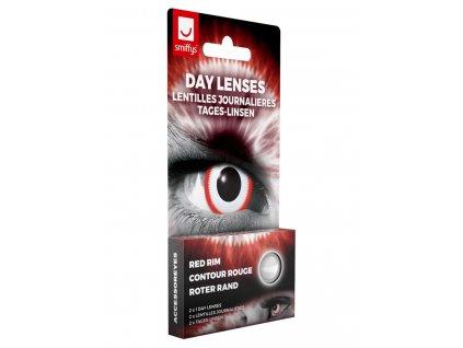 Oční kontaktní čočky s červeným proužkem