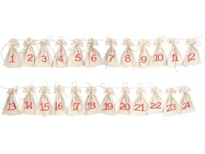 Adventní kalendář,lněné pytlíčky 8x13 cm, 24 ks