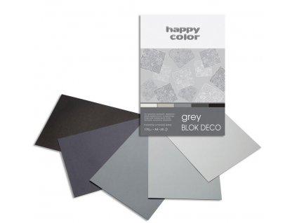 Barevný papír A4 170g 20l 5 odstínů šedé