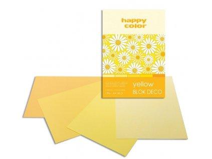 Barevný papír A4 170g 20l 5 odstínů žluté