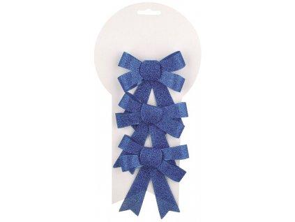 Mašle vánoční glitrová modrá 3ks