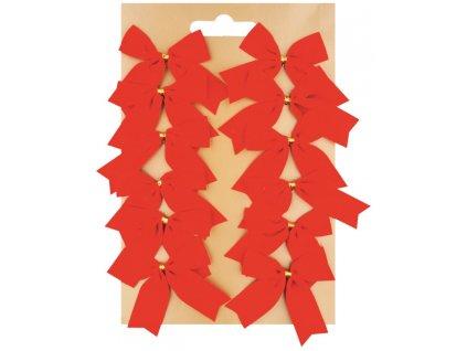 Mašle textil 5 cm na platíčku 12 ks červená