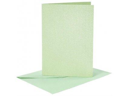 A6 přání a obálky 4ks (210g/m2) světle zelené perleťové