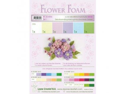 Pěnová guma na výrobu květin A4, 6ks - pastel. barvy