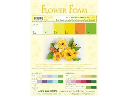 Pěnová guma na výrobu květin A4, 6ks - žlutá