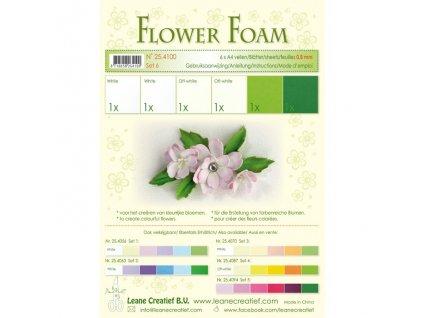 Pěnová guma na výrobu květin A4, 6ks - bílo-zelená