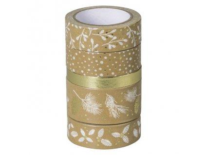 Samolepicí papírová washi páska, sada - Vánoce zlaté (5ks)