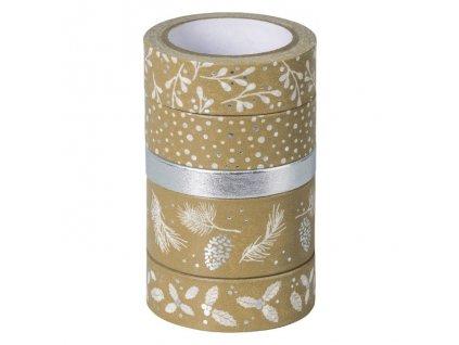 Samolepicí papírová washi páska, sada - Vánoce stříbrné (5ks)