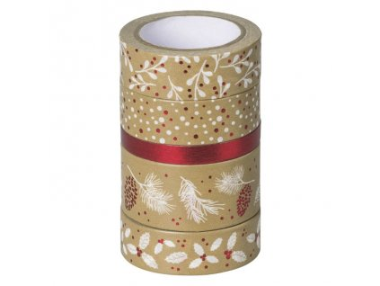 Samolepicí papírová washi páska, sada - Vánoce červené (5ks)