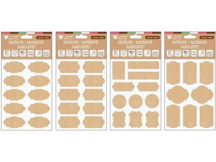 Samolepky popisovací papírové kraft 2 archy 18 x 13 cm