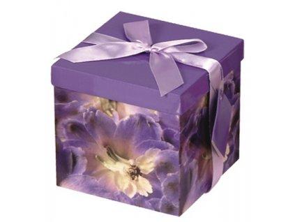 Dárková krabička skládací s mašlí M 15x15x15 cm - 7. FIALOVÁ