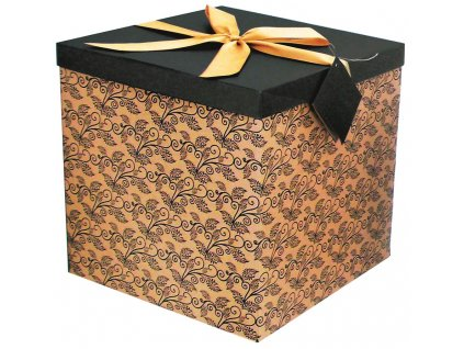 Dárková krabička skládací s mašlí celoroční XXL 30x30x30cm - PŘÍRODNÍ S HNĚDÝM VÍKEM