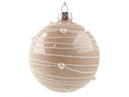 Sada skleněných baněk béžových s perlou 8cm, 6ks
