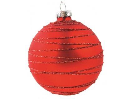 Sada skleněných baněk červených s glitrem 8cm, 6ks