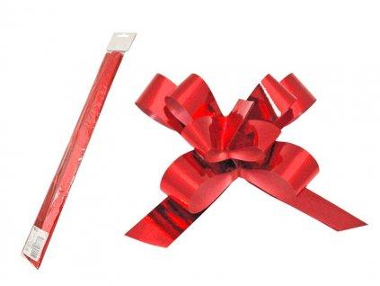 Stuha stahovací červená metal 2cm/50cm balení 50ks