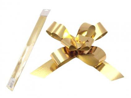 Stuha stahovací zlatá metal 2cm/50cm balení 50ks