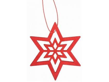 Dekorace dřevěná hvězda závěsná 10cm červená