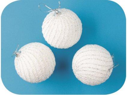 Baňky bílé s glitrovými pásky 8cm 3ks