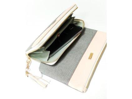 Sada velké peněženky a kosmetické tašky Grey Salmon