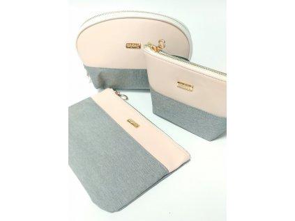 Sada tří kosmetických taštiček šedo růžové barvy